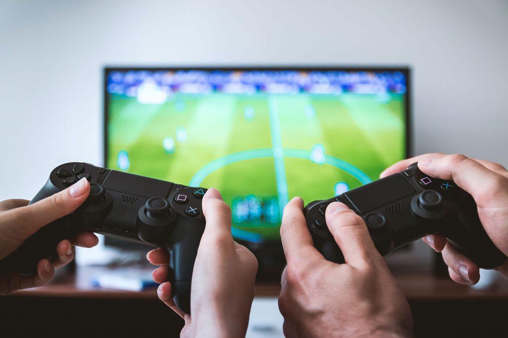 Jogos, consola de jogos, televisão, televisor, video game